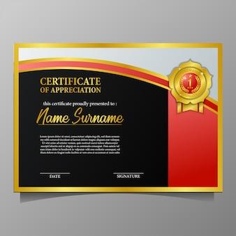 Certificado de belleza con medalla de oro pin calidad premium y fondo negro