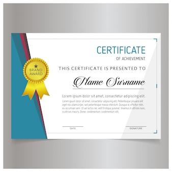 Certificado blanco y azul con un sello dorado