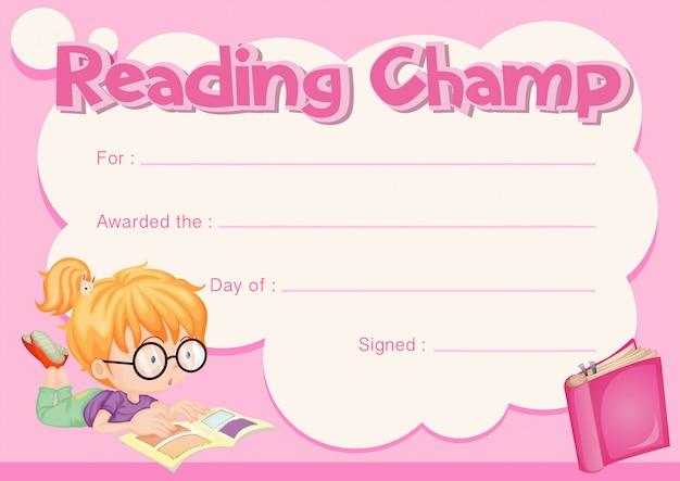 Certificado de campeón de lectura con libro de lectura de niña
