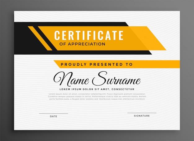 Certificado certificado diploma de plantilla en color amarillo.