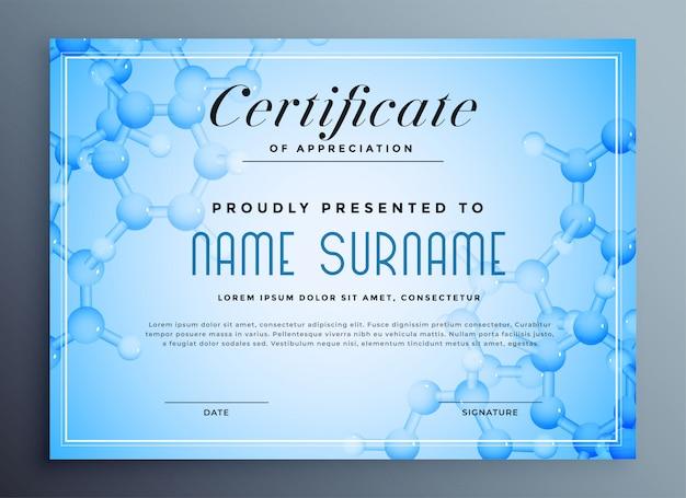 Certificado de ciencias médicas con estructura molecular.