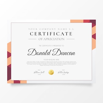 Certificado comercial moderno con formas coloridas