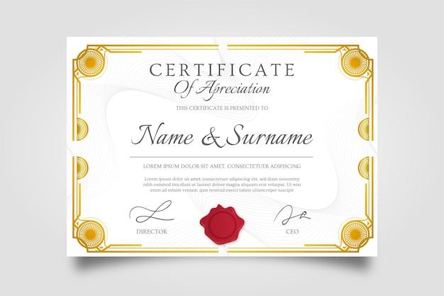 Certificado creativo de apreciación premio marco dorado