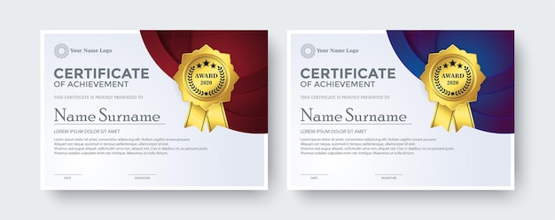 Certificado creativo mejor plantilla de premio