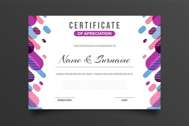 Certificado creativo de reconocimiento premio efecto memphis