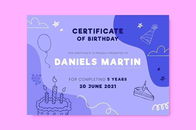 Certificado de cumpleaños doodle dibujado a mano