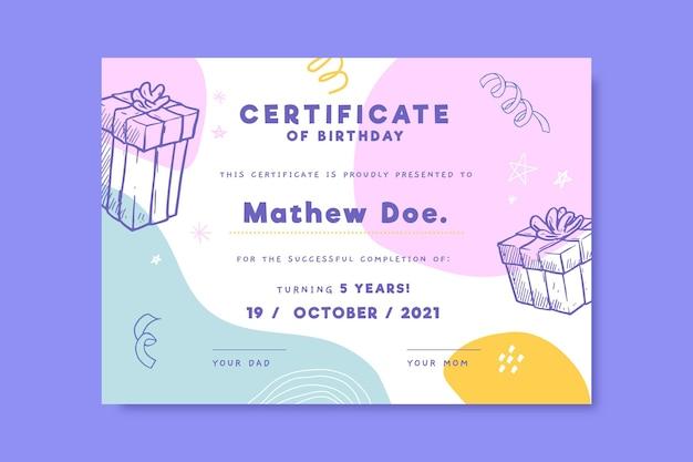 Certificado de cumpleaños realista dibujado a mano