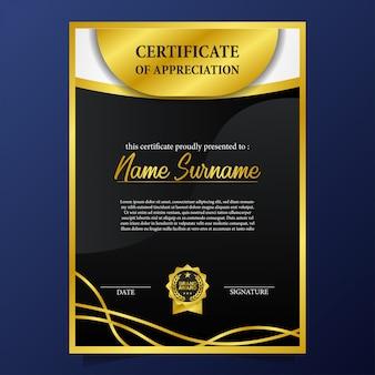Certificado de belleza con acentos dorados y premio medalla pin