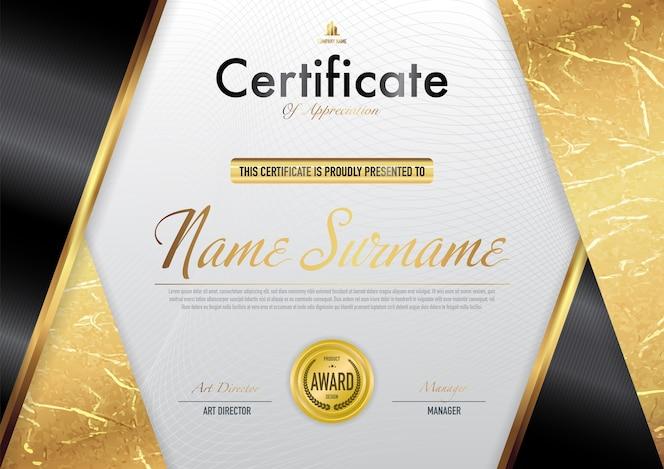 Certificado de plantilla de lujo y estilo de diploma, ilustración vectorial.