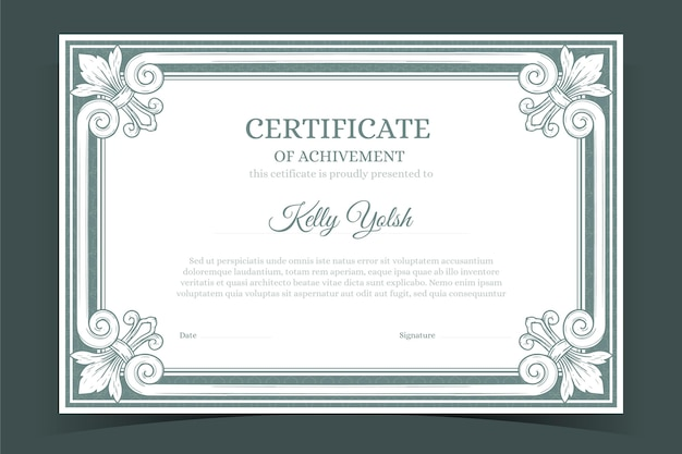 Certificado dibujado a mano grabado