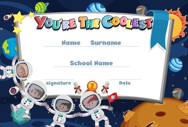 Certificado de dibujos animados motivacionales para niños