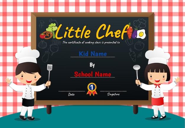 Certificado de diploma de la clase de cocina little chef