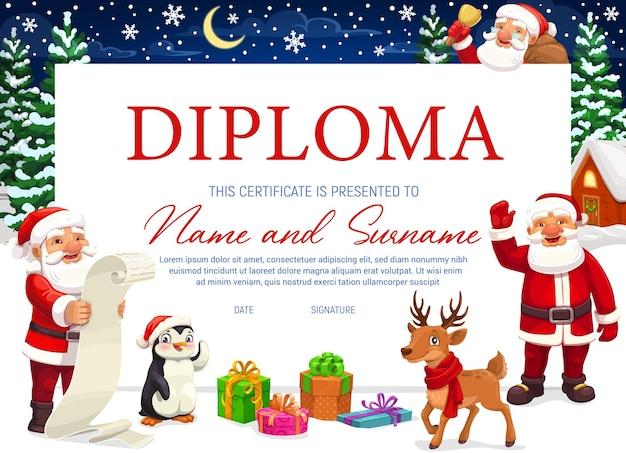 Certificado de diploma con fondo navideño