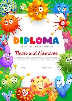 Certificado de diploma, microbios divertidos dibujos animados, virus