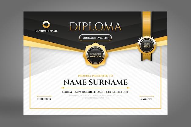 Certificado de diploma negro y dorado con cinta