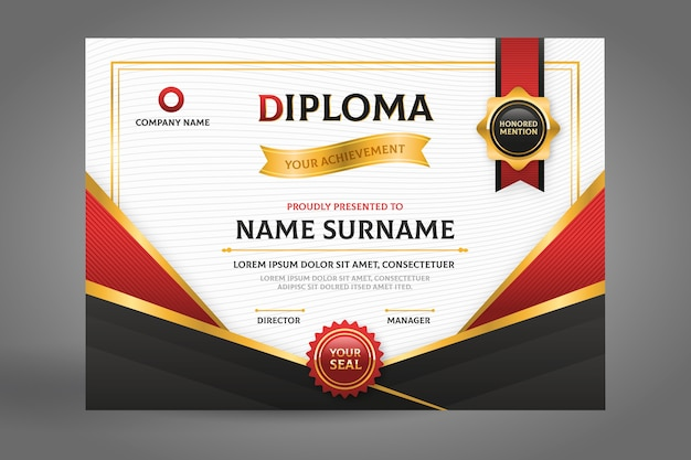 Certificado de diploma negro y rojo con cinta