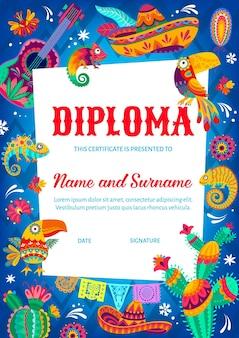Certificado de diploma de niño con sombrero mexicano, flores y camaleón, tucán, guitarra y cactus. premio de apreciación escolar o diploma de vector de jardín de infantes con banderas de papel picado de fiesta mexicana