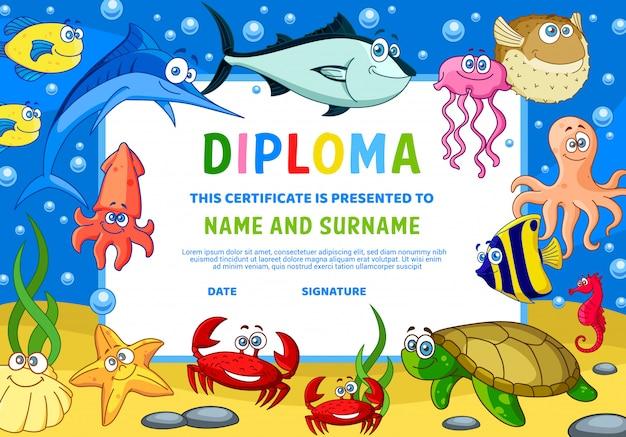 Certificado de diploma de niños con animales bajo el agua