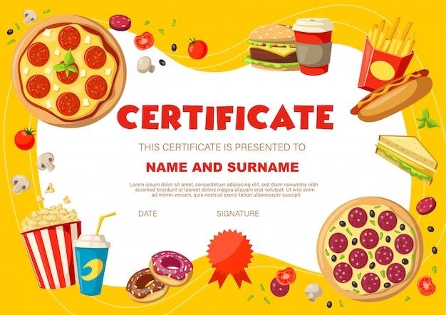 Certificado de diploma de niños con bocadillos y bebidas.