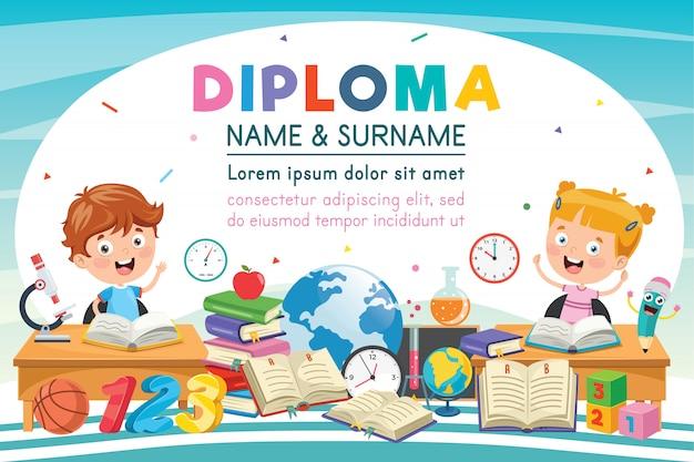 Certificado de diploma de niños de escuela primaria preescolar