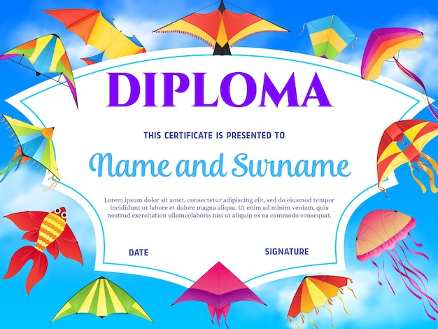 Certificado de diploma de plantilla de educación infantil con fondo de marco de cometas de dibujos animados en el cielo azul