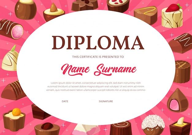 Certificado de diploma de plantilla de educación infantil