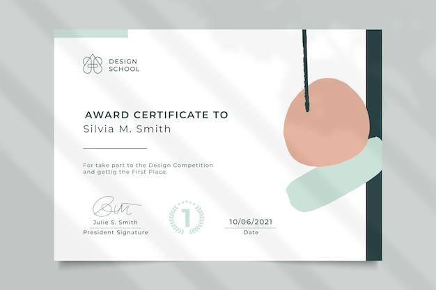 Certificado de diseño de apreciación minimalista abstracto