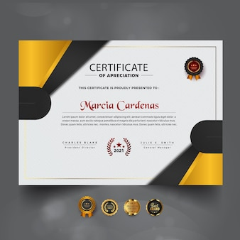 Certificado de diseño de color amarillo abstracto