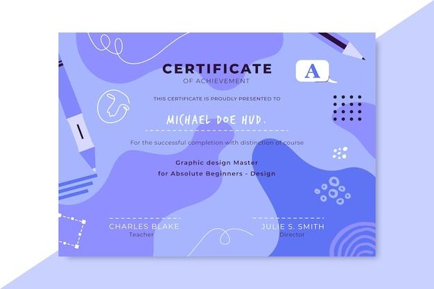 Certificado de diseño monocolor dibujado a mano
