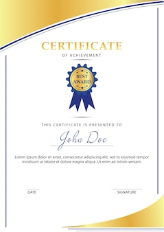 Certificado de diseño de plantilla de logro en color blanco y dorado.