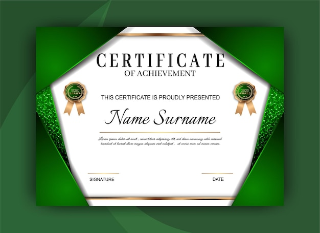 Certificado de diseño de plantilla de logro