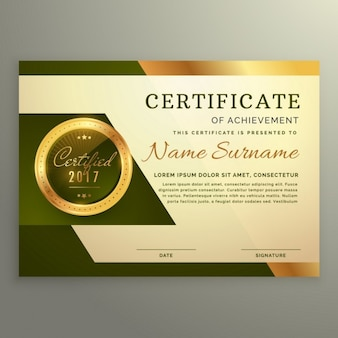 Certificado dorado y verde