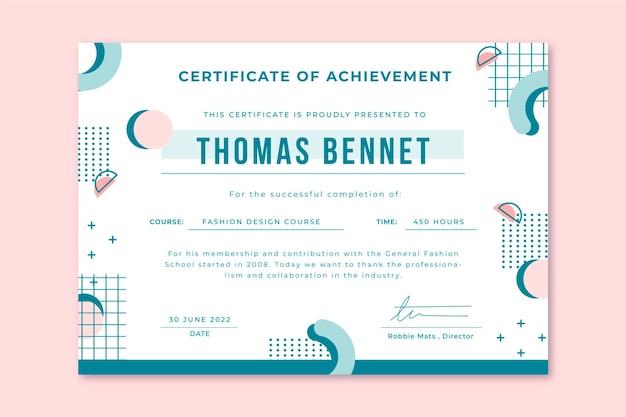 Certificado de educación en colores pastel de memphis