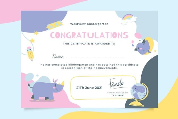 Certificado de educación infantil abstracto