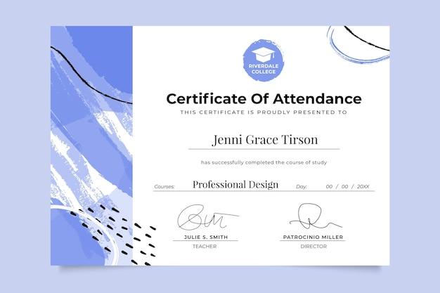 Certificado de educación monocolor pintado abstracto