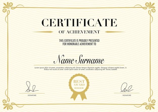 Certificado de educación o plantilla de diseño retro vintage diploma