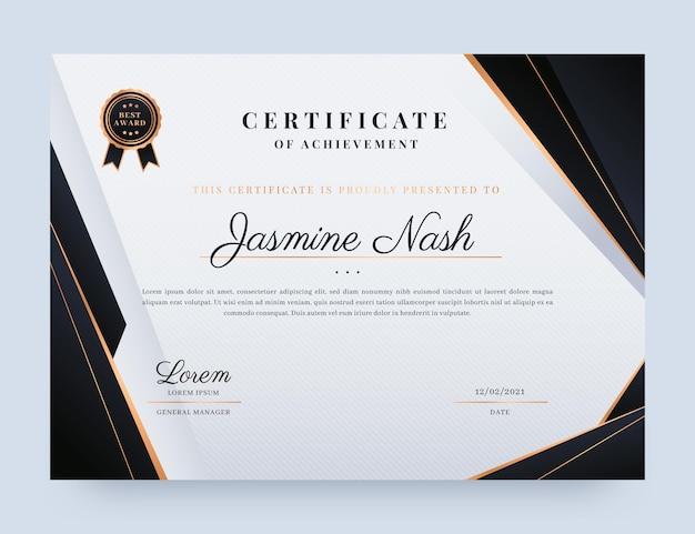 Certificado elegante degradado con elementos dorados.