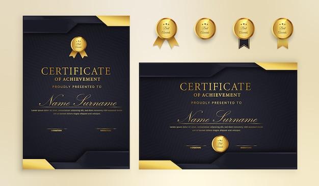 Certificado elegante con insignia y plantilla de vector de borde a4