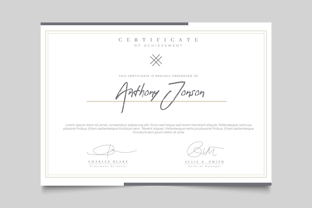 Certificado elegante con marco