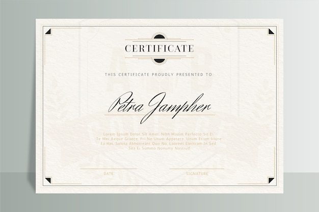 Certificado elegante plantilla con marco