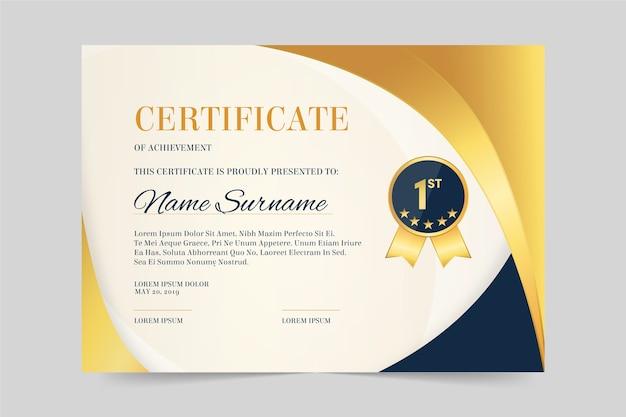 Certificado elegante para plantilla de reconocimiento