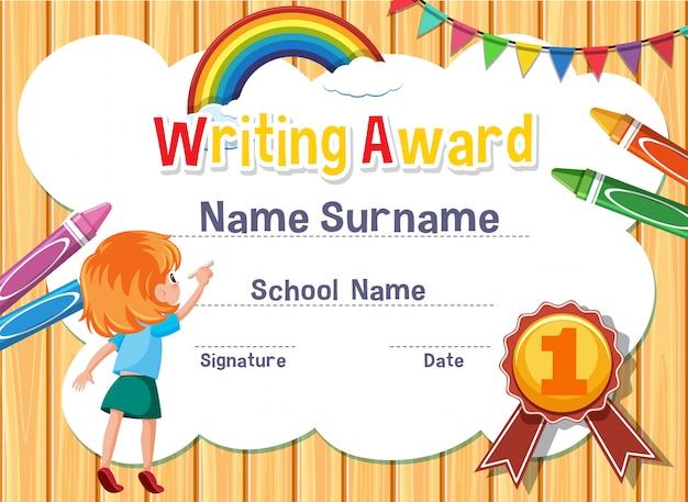Certificado para escribir premio con escritura de niña