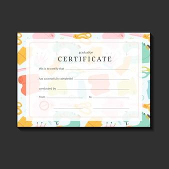 Certificado para la escuela de costura.