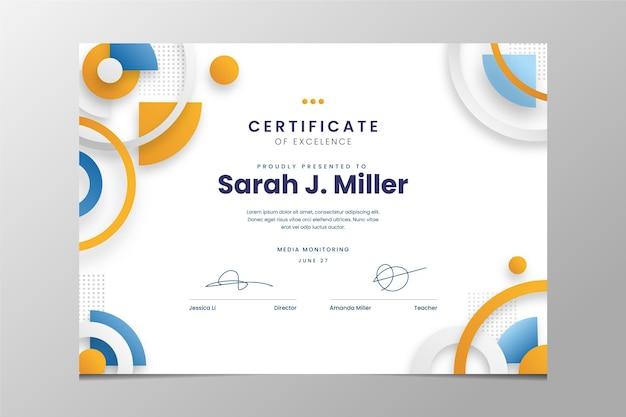 Certificado de excelencia moderno