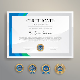 Certificado de finalización moderno para documentos impresos académicos y comerciales