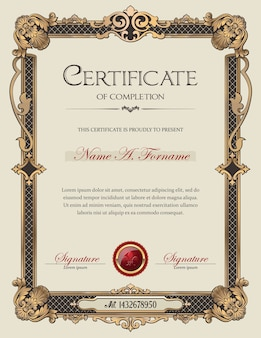 Certificado de finalización retrato con marco decorativo antiguo