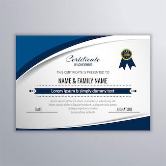 Certificado con formas circulares azules