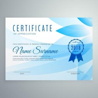 Certificado con formas florales azules