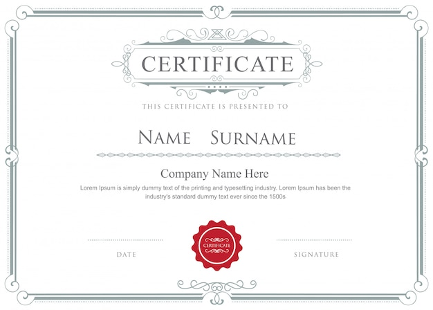 Certificado frontera vector elegante plantilla de adornos