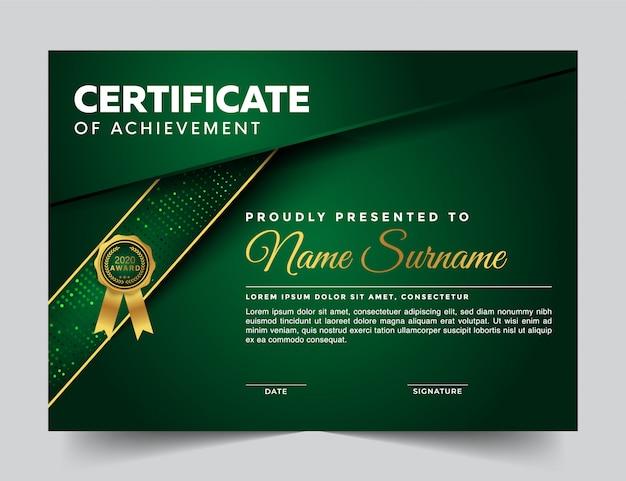 Certificado geométrico moderno de diseño de plantilla de logros